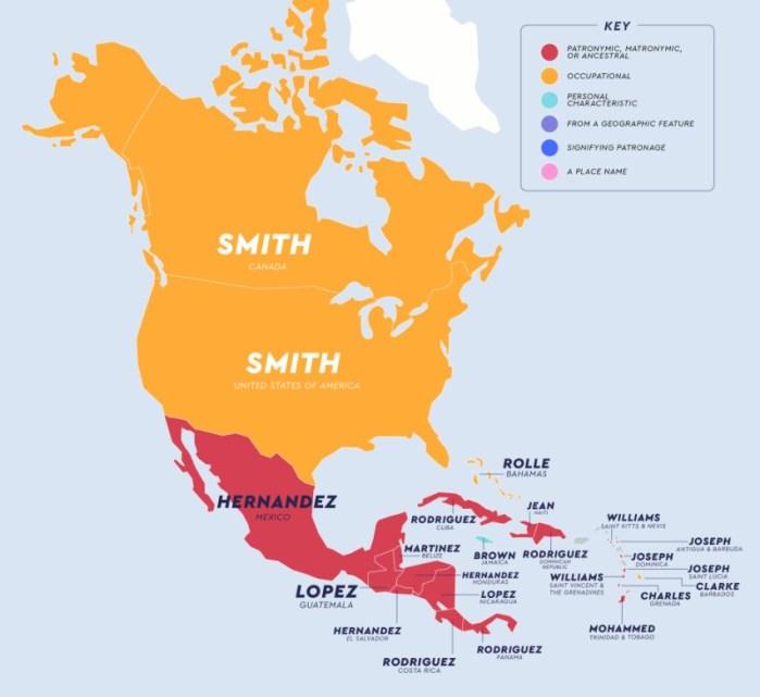 Kuzey Amerika'da En Yaygın Soyadları